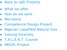 Back to L&D Projects What we offer How do we work Morrisons Competence Design Project  Nigerian Liquefield Natural Gas Valuing Diversity T.A.L.E.N.T. Course MEGPL Project