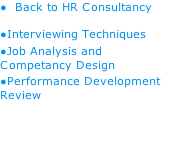 Back to HR Consultancy Interviewing Techniques Job Analysis and Competancy Design Performance Development Review